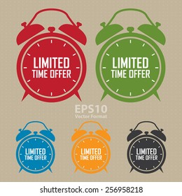 vector : limited time offer on alarm clock sticker, badge, icon, stamp, label, banner, sign
