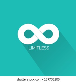 vector Limitless symbol icon on stylish turquoise background