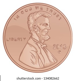 Vector Lincoln Penny/United States Penny Coin