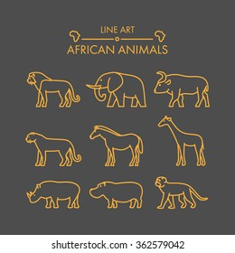 Vector line african animals icon set. Linear figure lion, cheetah, leopard, elephant, buffalo and giraffe.