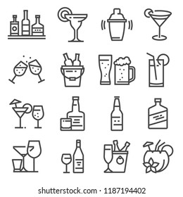 Vector line alcohol icons set. Shake, martini, beer, cocktail, margarita, coconut cocktail whiskeychampagne and more