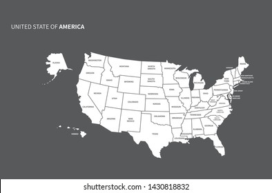 vector line of america map. united states map. usa.