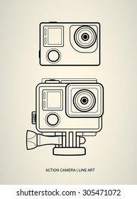 Vector line art action camera illustration isolated on white. Extreme gopro camera