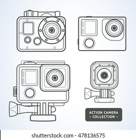 Vector line art action camera illustration isolated on white. Extreme GoPro camera icon collection. Action camera set