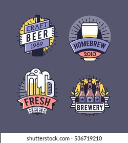 Vector Line Art Badge. Craft Beer Logo. Vintage Label for Brew House or Pub. Retro Brewery Template and Design Element