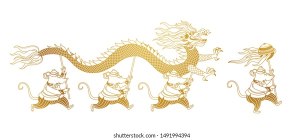 Vector line art banner with a illustration of Rat zodiac sign performing a Dragon Dance. White Metal Rat, symbol of 2020 on the Chinese calendar. Chinese elements for New Year's design. Chinese spring