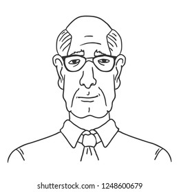 Vector Line Art Business Avatar - Old Bald Man in Shirt and Necktie. Male Character Portrait.