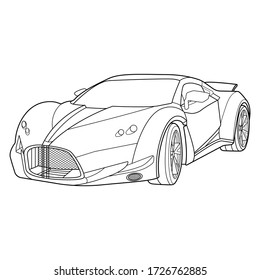 Vector line art car, concept design. Vehicle black contour outline sketch illustration isolated on white background. Stroke without fill. Cower drawing. Black-white icon.