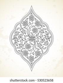 Vector line art decor, ornate vignette for design template. Eastern style element. Black outline floral decor. Mono line illustration for invitations, cards, coloring book, thank you message.