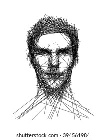 Vector line art drawing of young man's face portrait