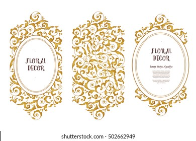 Vector line art frame for design template. Vintage element in Eastern style. Golden outline floral borders. Mono line decor for invitations, greeting cards, certificate, thank you message.