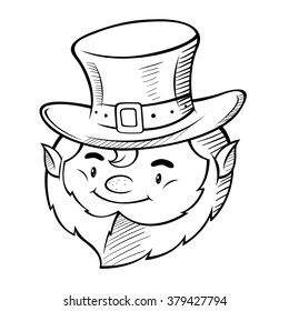 vector line art of happy smiling leprechaun head