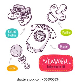 Vector line art icon set with baby products for newborns - knitted booties, pacifier, onesie and toy rattle - isolated on white
