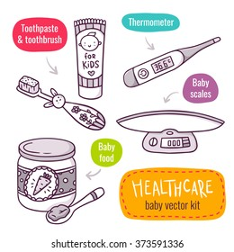 Vector line art icon set with baby products for children healthcare - baby scales, baby food, thermometer, toothpaste and toothbrush for kids - isolated on white