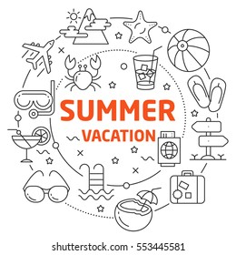 Vector Line Art Illustration in Flat styles summer vacation