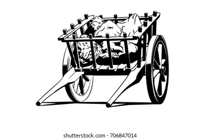 A vector line art illustration of a hand drawn or ox-drawn cart filled with indistinct rocks.