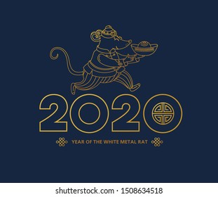Vector line art illustration of Rat zodiac sign, symbol of 2020 on the Chinese calendar in lineart style. Dancing mouse in traditional Chinese costume, gold ingot. White Metal Rat. Chinese elements.