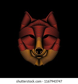 Vector line art illustration of a wolf head. Editable element design for t-shirt, poster, etc.