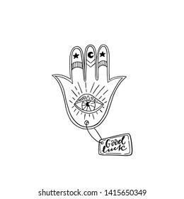 Vector line art  Indian hand Hamsa or hand of Fatima with third eye,good luck. Esoteric spiritual ethnic.Tattoo,coloring,t-shirt design