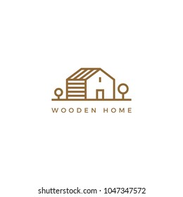 Vector line art logotype of wooden house. Abstract logo design for construction company or interior design studio.