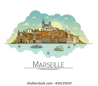 Vector line art Marseille, France, travel landmarks and architecture icon. The most popular tourist destinations, city streets, cathedrals, buildings and symbols in one illustration