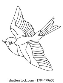Vector line art monochrome flying songbird. Black contour illustration isolated on white background. Stock illustration for coloring book, design, print, t shirt, home decor.