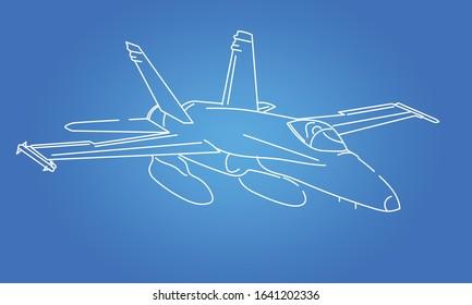 Vector Line Art Multirole Combat Jet