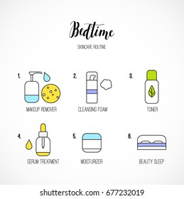 Vector line art night time skincare routine icons