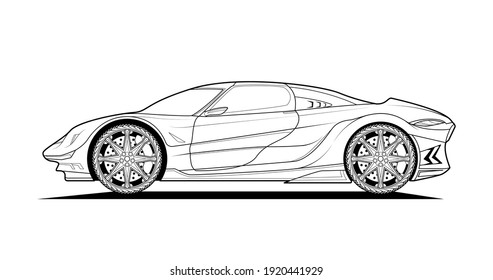 Vector line art original car illustration. Black contour sketch illustrate adult coloring page for book and drawing. High speed drive vehicle. Graphic element. wheel. Isolated on white background.