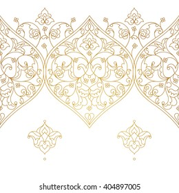 Vector line art seamless border for design template. Eastern style element. Golden outline floral decor. Mono line illustration for invitations, cards, certificate, thank you message, web page.