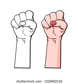 Vector line art, sketch illustration of symbol solidarity, with oppressed people and women rights, hand drawn illustration