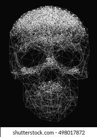 Vector line art. Skull illustration. Polygonal network of thin lines on Black background.