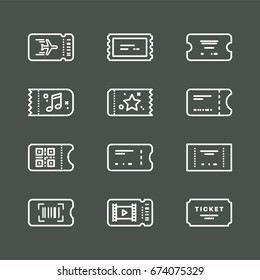 Vector line art ticket icon design. Simple and clean icon set. Airplane, train, bus, concert minimalistic style.