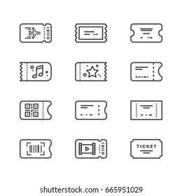 Vector line art tickets icon collection
