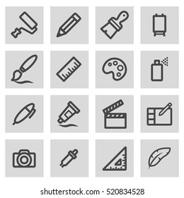 Vector line art tools icons set on grey background