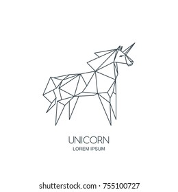 Vector line art unicorn horse logo icon or emblem. Outline geometric illustration for poster, greeting card, wall decoration sticker and prints.