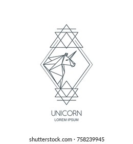 Vector line art unicorn horse logo icon or emblem. Unicorn polygonal head in rhombus shape. Outline geometric illustration for poster, greeting card, wall decoration sticker and prints.