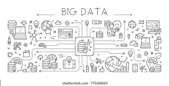Vector line banner for big data. Horizontal linear web concept for database.