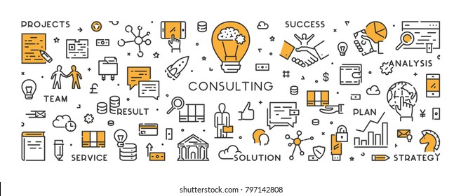 Vector line banner and concept for consulting. Modern linear symbol for business consultation.