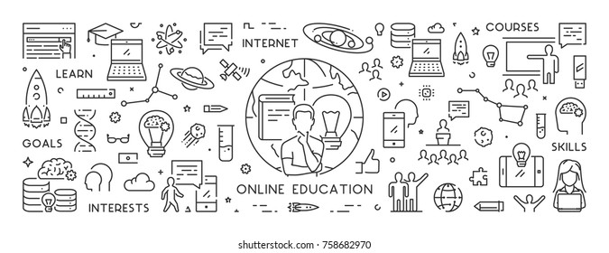 Vector line banner for online education. Linear web concept for online university. Open path.