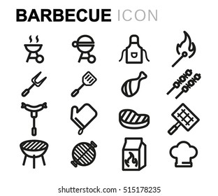 Vector line barbecue icons set on white background