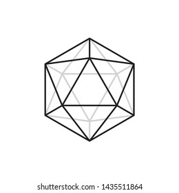 Vector line black 20 sided polygon. Isolated on white background.