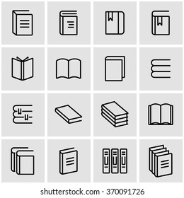 Vector line book icon set.