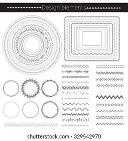vector line border set and geometric design elements.