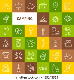 Vector Line Camping Icons. Thin Outline Summer Camp Symbols over Colorful Squares.