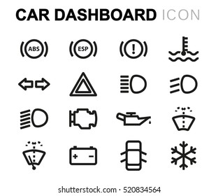 Vector line car dashboard icons set on white background