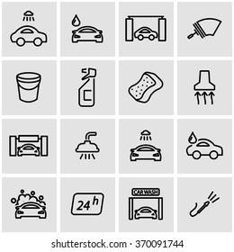 Vector line car wash icon set.