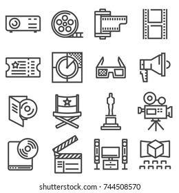 Vector line cinema icons set on white background