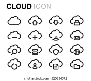 Vector line cloud icons set on white background