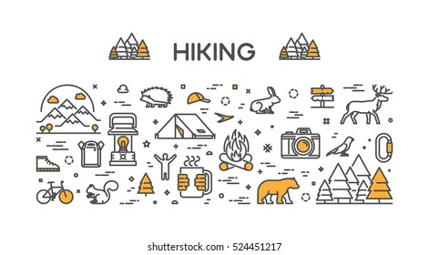 Vector line concept for hiking. Linear design banner for adventure. Open path.